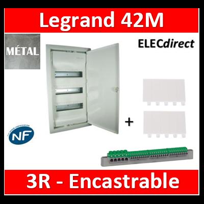 Legrand - Coffret encastré - porte métal extra plate - 3 rangées - 36+6 mod - 001533
