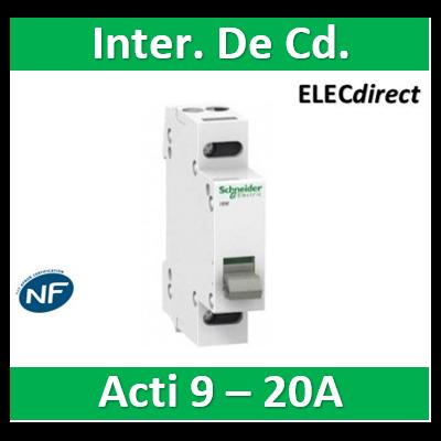 Schneider - Acti9, iSW interrupteur de commande 2P 20A 415VCA - A9S60220