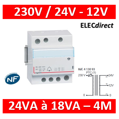 Legrand - Transformateur pour sonnerie - 230V /12V -  24V - 24VA - 413093