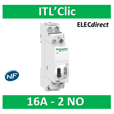 Schneider - Acti9, iTL télérupteur 16A 2NO 230...240VCA 110VCC 50-60Hz - A9C30812