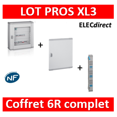 Legrand - Coffret 144 modules - 6R de 24M + peigne vertical tétra 4P + porte - XL3 160 - 401806+405036+020276
