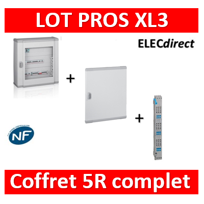 Legrand - Coffret 120 modules - 5R de 24M + peigne vertical tétra 4P + porte - XL3 160 - 401805+405035+020275