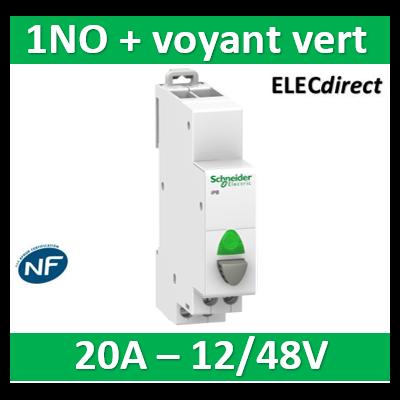 Schneider - Poussoir simple gris 1NO + voyant vert 20A - 230V - SCHA9E18038