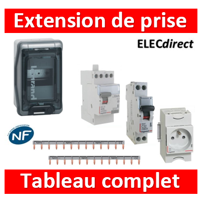 Legrand - Coffret 6M extension prise 16A - IP65/IK09 - 001906+411611+404926x2+406775+004280