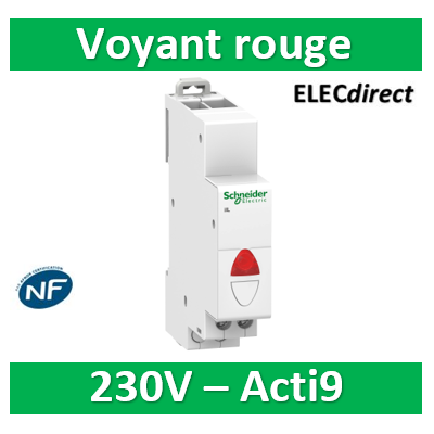 Schneider - Acti9, iIL voyant lumineux simple rouge 110...230VCA - SCHA9E18320