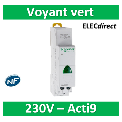 Schneider - Acti9, iIL voyant lumineux simple vert 110...230VCA - SCHA9E18321
