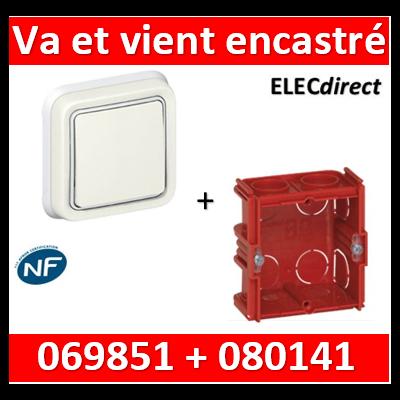 Legrand Plexo - Va-et-Vient encastré - blanc + Boîte 1 poste - 10A - 230V - IP55/IK07 - 069851+080141