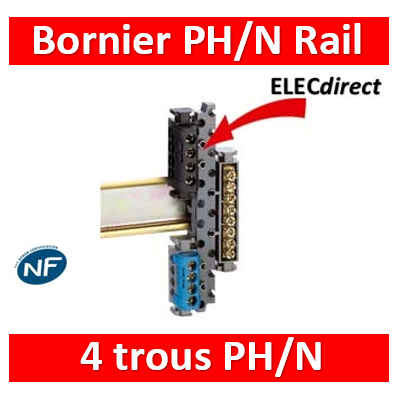 Legrand - Support Rail + Bornie Ph 4 trous + Bornier Neutre 4 trous - 004811+004840+004850