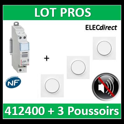 Legrand - Télérupteur CX3 silencieux unipolaire + 3 poussoirs Odace complet - 412400+S520206x3+S520702x3