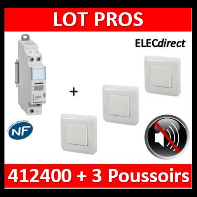 Legrand - Télérupteur CX3 silencieux unipolaire + 3 poussoirs Mosaic complet - 412400+77040x3+078802x3+080251x3
