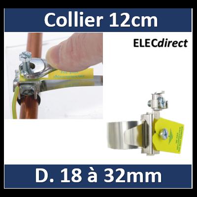Eurohm - Collier inox 12cm pour liaison équipotentielle D. 18 à 32mm - 070511