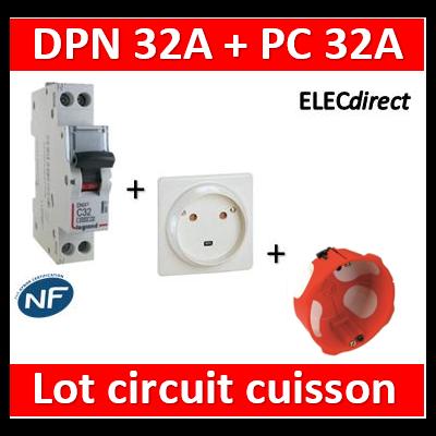 LEGRAND - Lot Disjoncteur DNX3 32A + Prise 32A + boîte BBC - plaque de cuisson - 406777+055812+38640