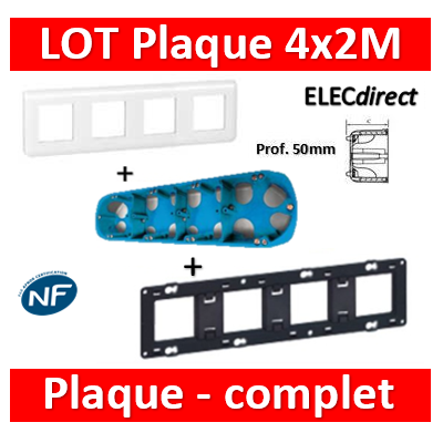 Legrand Mosaic - LOT - Plaque 4x2 modules - horizontal Prof.50 - 078808+080254+34972