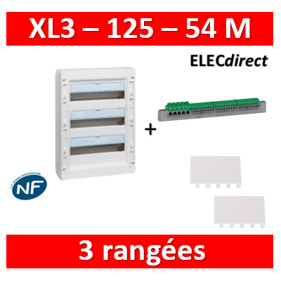 Legrand - Coffret de distribution 54 modules - 3 rangées de 18M - XL3 125 - 401613