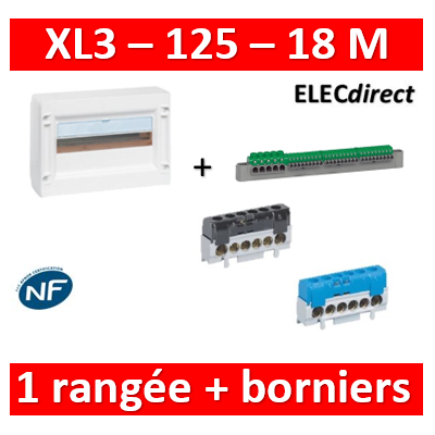 Legrand - Coffret de distribution 18 modules - 1 rangée de 18M + Borniers PH/N - XL3 125 - 401611+004815+004816