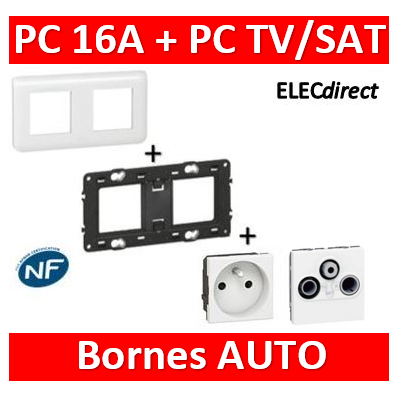 Legrand Mosaic - PC + prise TV/SAT complet - 2 postes (2x2M) - 230V