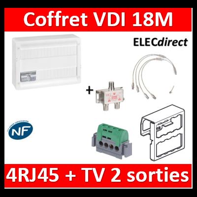 Legrand - Coffret VDI GRADE 2 avec brassage 18M STP - TV sur RJ45 - 4 RJ45 - 418248