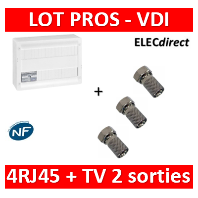 Legrand - Coffret VDI GRADE 2 avec brassage 18M STP - TV sur RJ45 - 4 RJ45 - 418248+3 fiches F