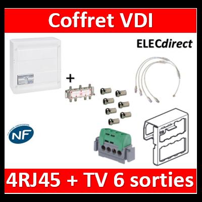 Legrand - Coffret VDI GRADE 2 avec brassage STP - 4 RJ45 / TV 6 sorties - 413248+SN6W+7 fiches F