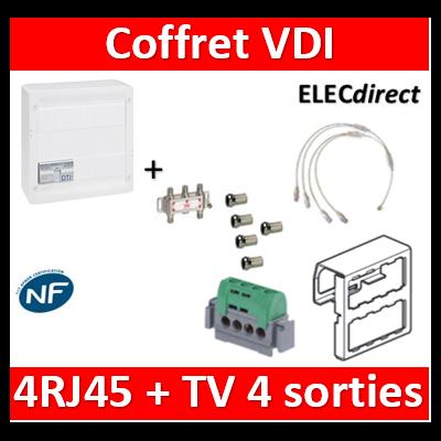 Legrand - Coffret VDI GRADE 2 avec brassage STP - 4 RJ45 / TV 4 sorties - 413248+SN4W+5 fiches F