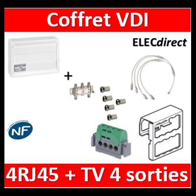Legrand - Coffret VDI GRADE 2 avec brassage 18M STP - 4 TV - 4 RJ45 - 418248+S4NW+5 fiches F