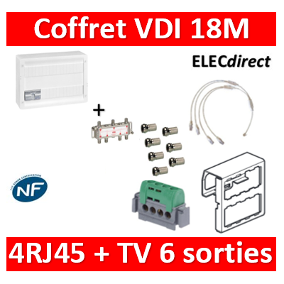 Legrand - Coffret VDI GRADE 2 avec brassage 18M STP - 6 TV - 4 RJ45 - 418248+S6NW+7 fiches F
