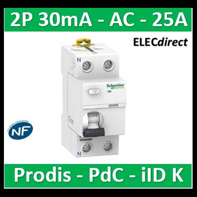 Schneider - ProDis iID K interrupteur différentiel PdC 4,5kA 2P 25A type AC 30mA - A9R55225