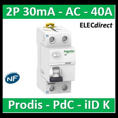 Schneider - ProDis iID K interrupteur différentiel PdC 4,5kA 2P 40A type AC 30mA - A9R55240