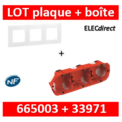 Legrand Niloé - Plaque 3 postes + Boîte BBC SIB 3 postes - Hor/vert - 665003+33971