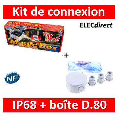 Ray Tech - Magic Box - Kit de connexion complet IP68 isolé avec Magic Fluid - D80. - MAGICBOX80