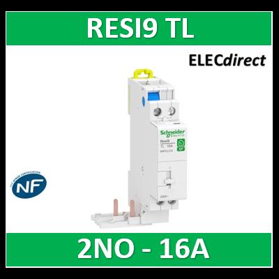 Schneider - Télérupteur RESI9 TL - Bipolaire - 2NO 16A - 250V - R9PCL216