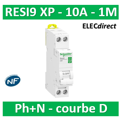 SCHNEIDER - DISJONCTEUR DUOLINE RESI9 XP (à VIS) - 10A - VIS/VIS - D - R9PFD610