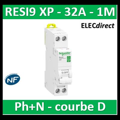 SCHNEIDER - DISJONCTEUR DUOLINE RESI9 XP (à VIS) - 32A - VIS/VIS - D - R9PFD632