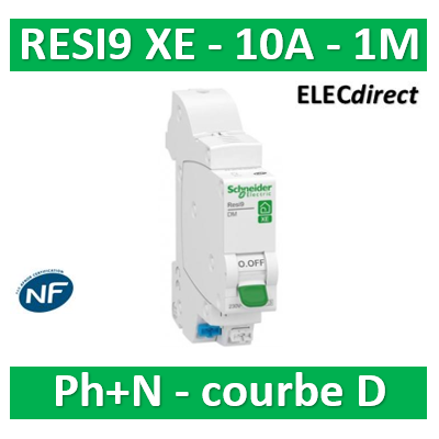 SCHNEIDER - DISJONCTEUR DUOLINE RESI9 XE (AUTO) - 10A - VIS/VIS - D - R9EFD610