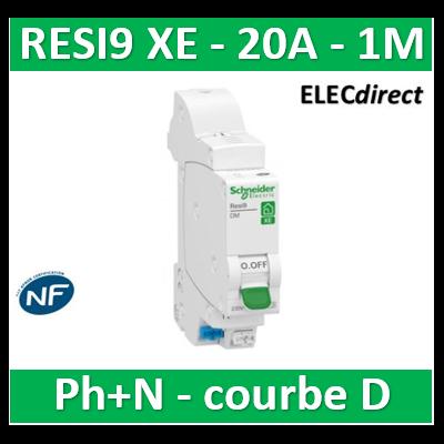 SCHNEIDER - DISJONCTEUR DUOLINE RESI9 XE (AUTO) - 20A - VIS/VIS - D - R9EFD620