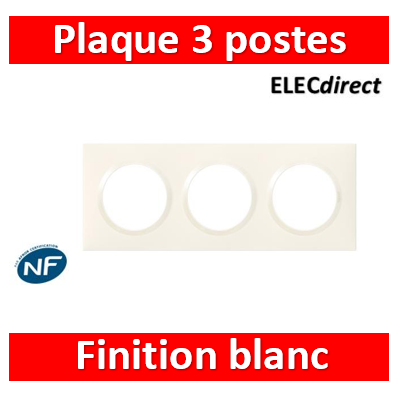 Legrand - Plaque Legrand Dooxie carrée 3 postes finition blanc - 600803