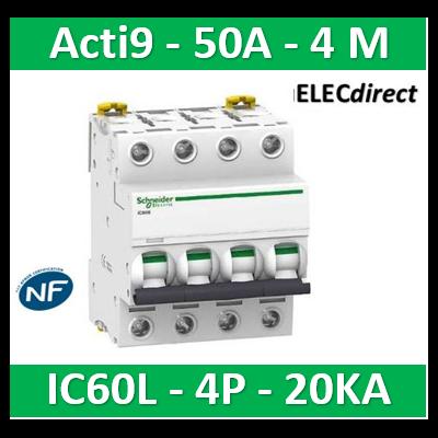 Schneider - Disjoncteur Acti9 - iC60L - 4P - 50A - 20kA - courbe C - A9F94450