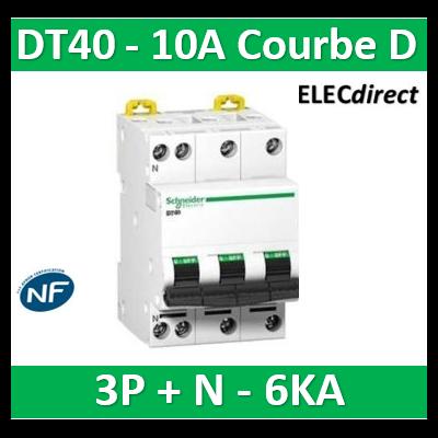 Schneider - DT40 - Disjoncteur 3P+N - 10A - 6kA - courbe D - A9N21074
