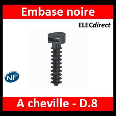 Legrand - Embase noire protégée ultraviolets à cheville standard pour perçage Ø8mm - par 100  - 031955
