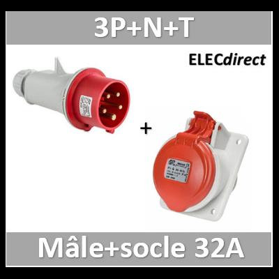 Digital - Prise de Courant Européenne 3P+T+N 32A + Fiche mâle - 380V - IP 44 - 51118+51318