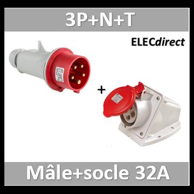 Digital - Prise de Courant Européenne socle 3P+T+N 32A + fiche mâle - 380V IP 44 - 51218+51318