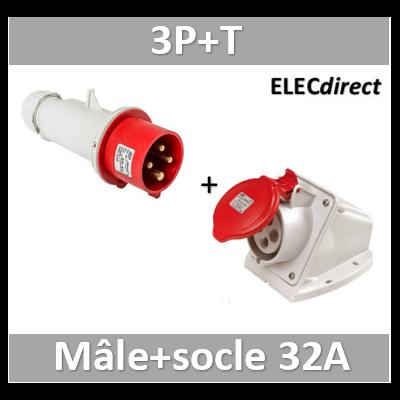 Digital - Prise de Courant Européenne socle 3P+T 32A + Fiche mâle - 380V IP 44 - 51214+51314