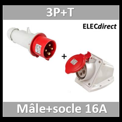 Digital - Prise de Courant Européenne socle 3P+T 16A + Fiche mâle - 380V IP 67 - 51712+51812
