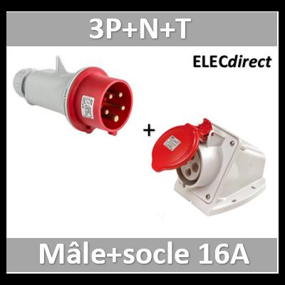 Digital - Prise de Courant Européenne socle 3P+T+N 16A + Fiche mâle - 380V IP 44 - 51216+51316