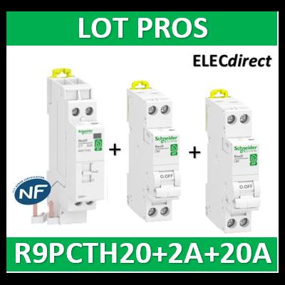 Schneider - LOT PROS - Contacteur J/N heures creuses + DPN 2A XP + DPN 20A XP - R9PCTH20+R9PFC620+R9PFC602