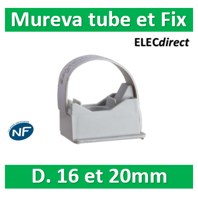 Schneider - Mureva FIX - Instalclip pour conduits Ø16 et Ø20 mm - Gris - ENN45020