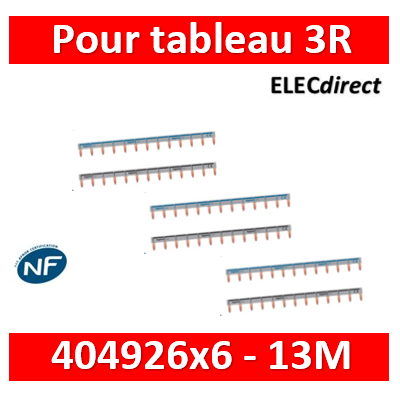 Legrand - Peignes d'alimentation 13 Modules Universel PH + N - 404926x6