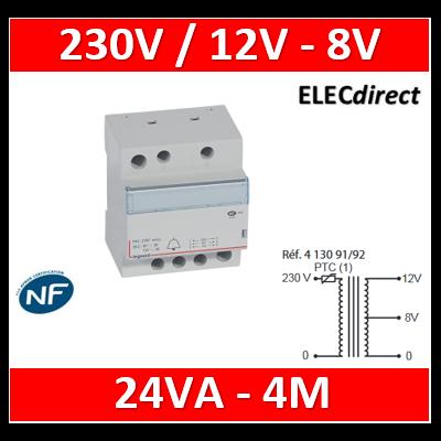 Legrand - Transformateur pour sonnerie - 230V / 12V - 8V - 24VA - 413092
