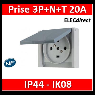 Legrand Plexo - Socle à encastrer - prise étanche Plexo 20 A - 3P+N+T - IP44-IK08 - gris- 055708