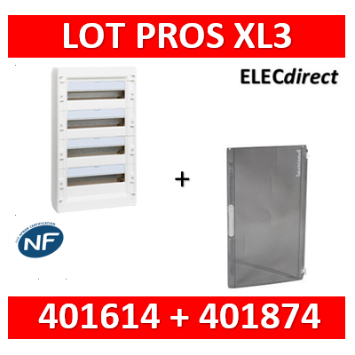 Legrand - Coffret de distribution 72 modules - 4R de 18M + porte transparente - XL3 125 - 401614+401874